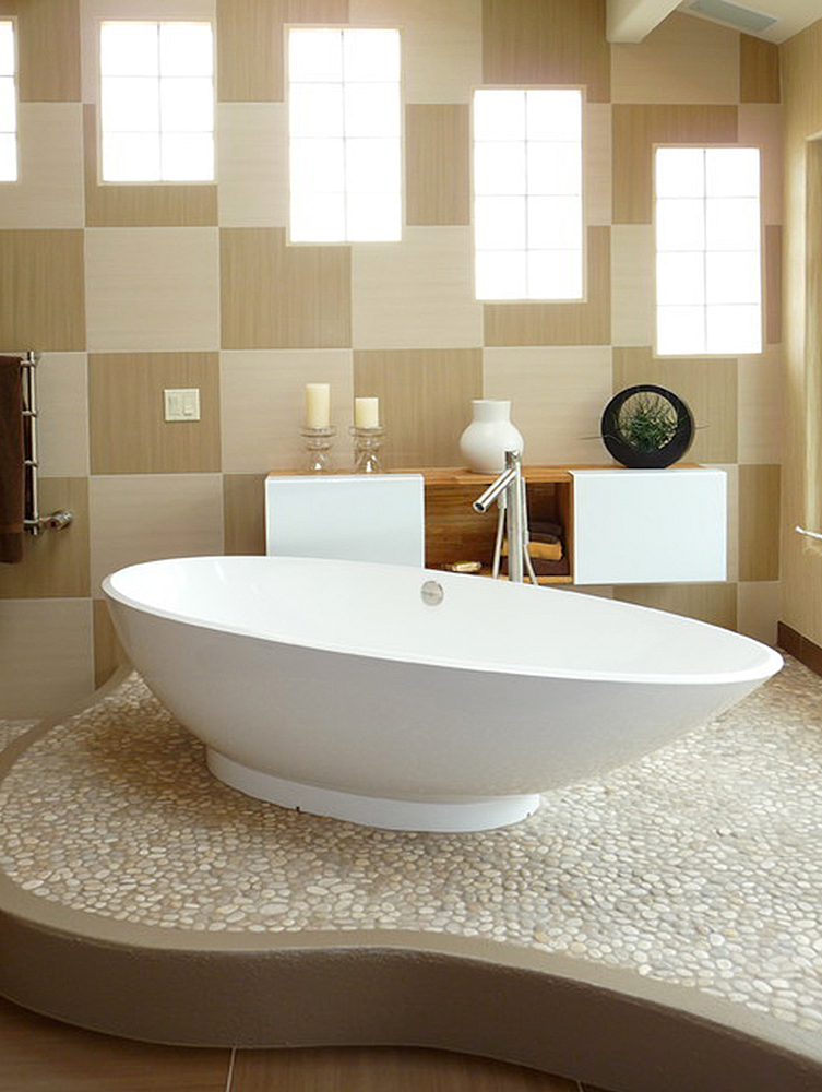 Pebble Tile Bathrooms and Showers
