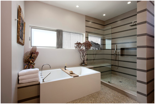Modern-Bathroom-&-Whoer-with-Tan-Pebble-Tile-Flooring