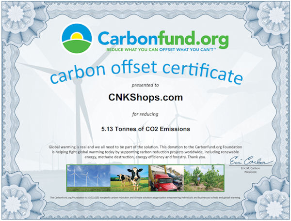 CNK Shops Carbon Fund Donation Certificate